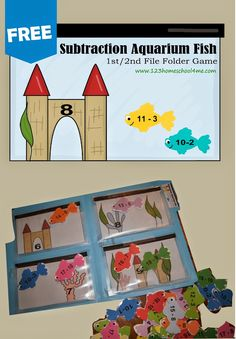 Help kids practice subtraction with the free printable math games for 1st grade and 2nd grade kids with a Aquarium fish theme.
