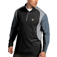 Mens New Orleans Saints Antigua Black Beta 1/4 Zip Pullover Jacket