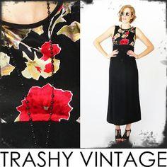 vtg 90s gypsy BURNOUT VELVET grunge FLORAL revival DRAPED empire maxi dress S $24.00