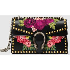 Gucci Dionysus Embroidered Shoulder Bag ($4,200) ❤ liked on Polyvore featuring bags, handbags, shoulder bags, black, leather purses, studded purse, genuine leather shoulder bag, floral purse and gucci shoulder bag