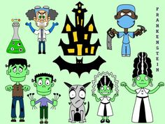 Crunchy with Ketchup: A Monster Wrangler's Blog: New Clip Art: Frankenstein and Vampires