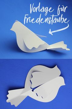 Table decoration for first communion: dove of peace [Plotterfreebie] - Handicraft template and plotter freebie for dove of peace – table decoration for first communion - Bird Crafts, Diy And Crafts, Crafts For Kids, Arts And Crafts, Diy Paper, Paper Crafting, Paper Art, Paper Birds, Paper Flowers