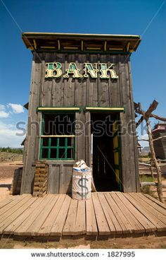 Old western style bank in old ghost town. Included into the 'Old West' image selection. Western Saloon, Western Theme, Western Decor, Western Style, Western Games, Building Front, Banks Building, Building Plans, Play Houses