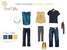 Use shades of blue to offset the bright and spunky yellow accent pieces. Family Pictures What To Wear, Summer Family Photos, Family Pics, Family Photo Colors, Family Picture Outfits, Family Photography, Photography Tips, Photo Colour, Family Portraits