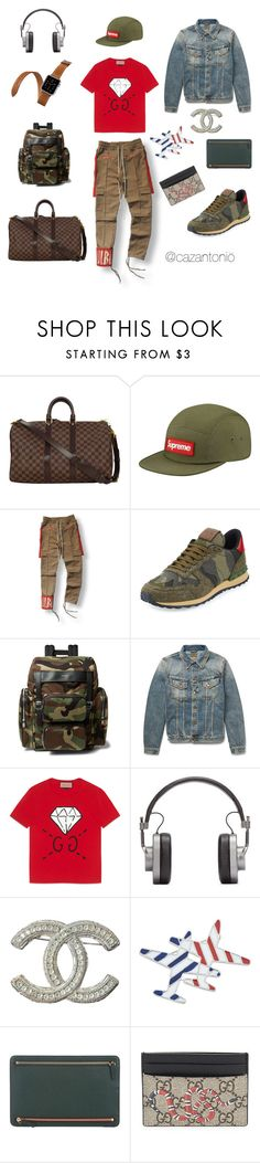 """JFK to LAX ✈️"" by cazantonio on Polyvore featuring Louis Vuitton, Valentino, Yves Saint Laurent, Nudie Jeans Co., Gucci, Hermès, Master & Dynamic, Chanel, Smythson and men's fashion"