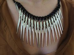 Silver Spike Statement Necklace Anthropologie by GraceAvenue, $25.00