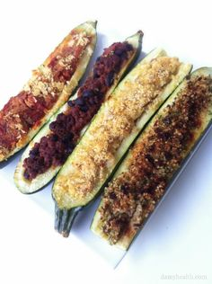 25 Healthy & Delicious Ways to Stuff Zucchini (Low Carb & Vegan Options Included) Stuffed Zucchini is a delicious, fun and low carb way to create a great meal. There are so many different options. The recipes here range from low carb to vegan to high fiber. http://www.damyhealth.com/2012/11/25-healthy-delicious-ways-to-stuff-zucchini/