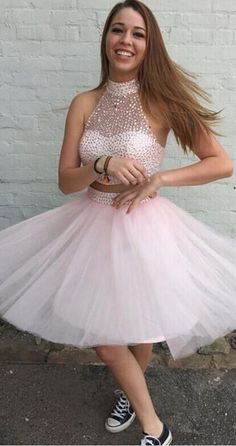 2 Pieces High Neck Pink Homecoming Dress,Beaded Bodice Two Piece Short Prom Homecoming Dresses,Back Zipper Party Gowns,Formal Dresses