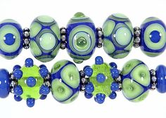 Blazin' Blues Lapis and Lime Lampwork Bead Set by SharplineDesigns, $34.00