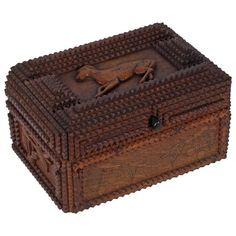 Fine Tramp Art Gentelman's Box with a Carved Dog & Cherries