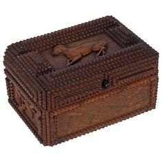 Fine Tramp Art Gentelman's Box with a Carved Dog & Cherries
