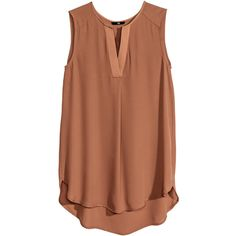 H&M Chiffon blouse ($8.51) ❤ liked on Polyvore featuring tops, shirts, sleeveless tops, tanks, cognac brown, v-neck tops, chiffon top, sleeve less shirts, chiffon shirt and brown sleeveless top