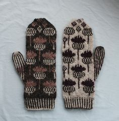 Crochet Patterns Mittens Ravelry: Vottene Hvitbladtistel / Melancholy Thistle pattern by Pinneguri Crochet Mittens, Mittens Pattern, Knitted Gloves, Knitting Socks, Hand Knitting, Knit Crochet, Crochet Cats, Crochet Birds, Crochet Food