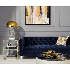 Get inspired by these luxury living room design ideas. Living Room Grey, Living Room Sofa, Interior Design Living Room, Living Room Designs, Blue Living Room Furniture, Blue Velvet Sofa Living Room, Blue And Gold Living Room, Baxter Sofa, Dressing Design
