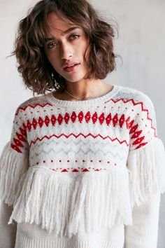 Ecote Party Fringe Sweater - Urban Outfitters