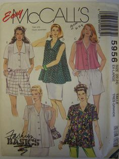 Vintage 1990s McCall's 5956 SMOCK TOP Pattern Plus sizes 22-24 UNCUT by RaggsPatternStash on Etsy