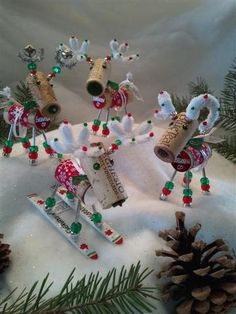 WINE CHRISTMAS ORNAMENT - Winedeer ™ - Very Merry Moose-Bighorn Sheep -Cabernet