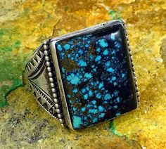 *RARE* 1970s Navajo Sterling OLD LANDER BLUE Spiderweb Turquoise MENS Ring Sz 10
