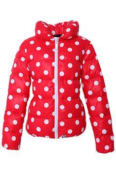 Polka Dots~ Red Down Coat
