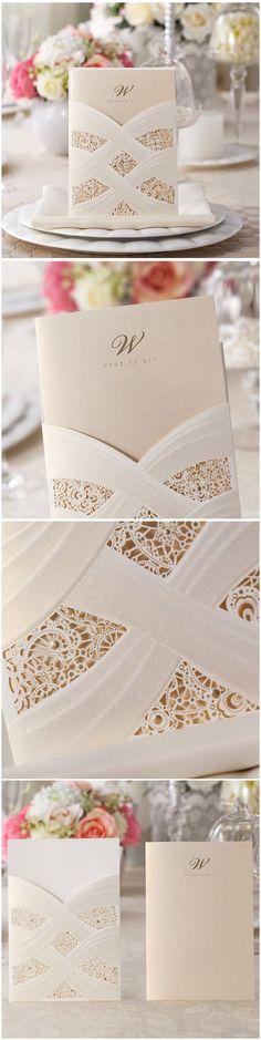 elegant pearl white ivory pocket laser cut lace wedding invitations
