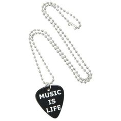 Music Is Life Pick Necklace | Hot Topic ($4.88) ❤ liked on Polyvore featuring jewelry and necklaces