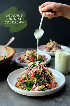 If you're looking for a good reset, check out this Coconut Quinoa Salad from Naturally Nourished. from Shutterbean If you're looking for a good reset, check out this Coconut Quinoa Salad from Naturally Nourished. from Shutterbean Healthy Salad Recipes, Raw Food Recipes, Vegetarian Recipes, Cooking Recipes, Cooking Tips, Kale Recipes, Picnic Recipes, Picnic Ideas, Cabbage Recipes