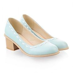 $24.46 Sweet Style Round Toe and Solid Color Design Pumps For Women