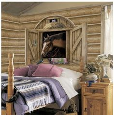 Horse Rooms For Girls | horse stable window shopping wall decor for girls in pink and black ...