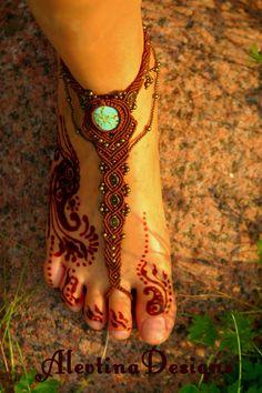 Barefoot Macrame Sandal Tribal Beach footwear by AlevtinaDesigns, $53.00