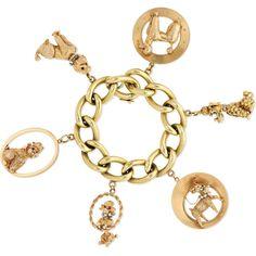 Fred Leighton 1950s 14-karat gold multi-stone bracelet (249.404.255 IDR) ❤ liked on Polyvore featuring jewelry, bracelets, 14k vintage pendant, 14 karat gold charm bracelet, 14 karat gold pendants, chain pendants and antique charm bracelet