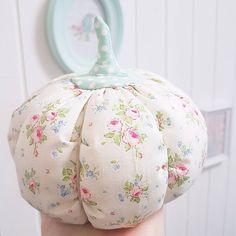 just the cutest floral fabric pumpkin from Little Cottage Prairie Style on IG.