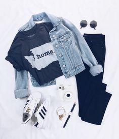 wholesale dealer 78d53 f61e9 Zapatillas adidas all star, remera negra, campera de jean y jeans negro  Outfit Trends