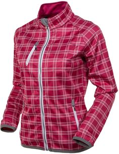 love this AUR Ladies Water Repellent Softshell Passion Pink Plaid Golf Jacket | #Golf4Her