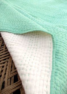 Mint quilted bedspread, stripe pattern, cotton kantha quilt, 100% cotton, 90X108 inches