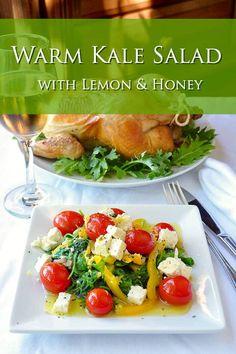 Warm Kale Salad with Lemon & Honey. A tasty side dish or light lunch. Lemon Recipes, Veg Recipes, Cooking Recipes, Rock Recipes, Kale Salad Recipes, Vegetarian Salad Recipes, Salad Bar, Soup And Salad, Warm Kale Salad