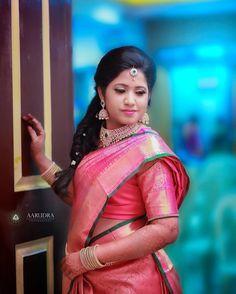 South Indian bride. Diamond Indian bridal jewelry.Temple jewelry. Jhumkis.Pink silk kanchipuram sari.Braid with fresh jasmine flowers. Tamil bride. Telugu bride. Kannada bride. Hindu bride. Malayalee bride.Kerala bride.South Indian wedding.