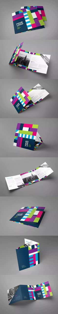 Square Cool Colorful Trifold Brochure Template InDesign INDD
