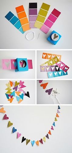 great idea...collect paint strip samples and make heart garlands out of them! cute for kids party...
