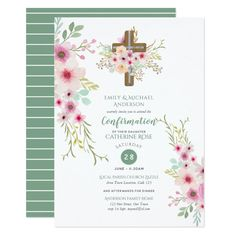 Watercolor Floral Cross CONFIRMATION Pink Sage Card Custom #babyshower invitations - Make your special day with these personalized #baby #shower #invitations change the colors font and images and make them your own.