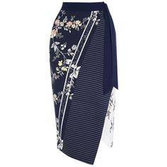 Oasis Sashiko Wrap Pencil Skirt, Multi Blue (600 CZK) ❤ liked on Polyvore featuring skirts, floral pencil skirt, patterned pencil skirt, wrap skirt, blue pencil skirt and flower print pencil skirt