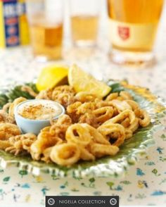 Calamari Rings with Garlic Mayonnaise.