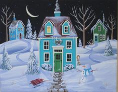 Fresh Snow Folk Art Print by KimsCottageArt on Etsy