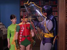 Batman, The Sport of Penguins   Episode aired 5 October 1967 Season 3 Episode 4 , Yvonne Craig . Adam West Bat sheild