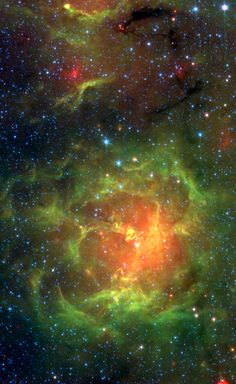 The glowing Trifid Nebula is revealed with near- and mid-infrared views from NASA's Spitzer Space Telescope. The Trifid Nebula is a giant star-forming cloud of gas and dust located light-years away in the constellation Sagittarius. Infrared Telescope, Spitzer Space Telescope, Cosmos, Digital Foto, Space Photos, Space And Astronomy, Science, Deep Space, Space Exploration
