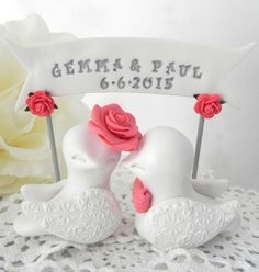 Wedding Cake Topper Love Birds Ivory Coral and Grey by LavaGifts