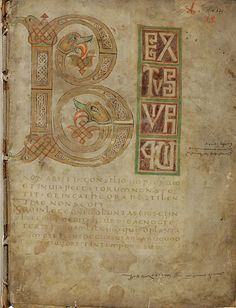 Beautifully illuminated initial capital of the first Psalm (Beatus vir) strongly influenced by Irish models. Psalter Non-commercial reutilization is allowed. Medieval Books, Medieval Manuscript, Illuminated Letters, Illuminated Manuscript, Litany Of The Saints, Carolingian, Initial Capital, Book Of Kells, Book Catalogue