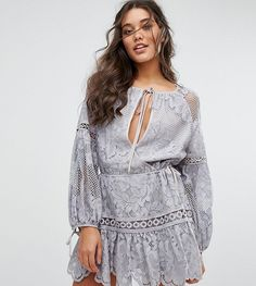 Get this Stevie May's cotton dress now! Click for more details. Worldwide shipping. Stevie May Nina Mini Lace Dress - Grey: Dress by Stevie May, Lined lace, Scoop neck, Wrap plunge front, Tie detail, Blouson sleeves, Tie cuffs, Scallop-edge trim, Regular fit - true to size, Hand wash, 60% Cotton, 40% Nylon, Our model wears a UK S/EU S/US XS and is 175cm/5'9 tall, Exclusive to ASOS. The guys behind Stevie May match their boho mood to their delicate prints, soft textures and layers of lace…