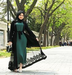 amal_ben_muhamed Hijab Style Dress, Modest Fashion Hijab, Modesty Fashion, Abaya Fashion, Fashion Dresses, Abaya Style, Iranian Women Fashion, Islamic Fashion, Muslim Fashion