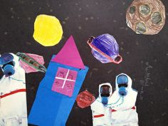 Kindergarten space collage OUT OF THIS WORLD (K-5th) - Teaching Elementary Art