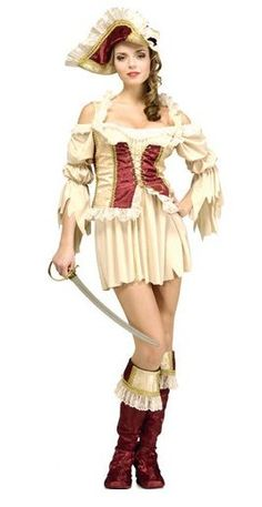Our Women's Pirate Queen Costume is a step above the Wench! The costume includes a short dress with a detailed cream and burgundy colored corset that has gold colored trim. A lady's Pirate hat and matching burgundy boot tops are also included. Female Pirate Costume, Queen Costume, Pirate Costumes, Toga Costume, Pirate Queen, Pirate Woman, Burgundy Boots, Pirate Hats, Steampunk Wedding